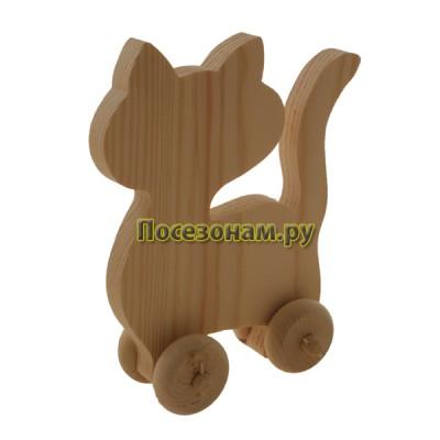 """Деревянная игрушка """"Кошка-1"""" на колесиках"""