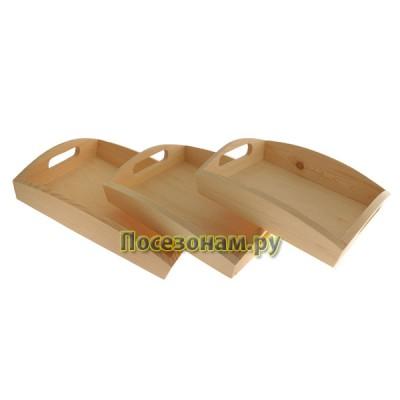 Набор из трех деревянных подносов для декупажа (сосна)