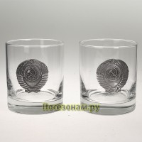 "Набор из двух стаканов для виски (300мл) с накладками из олова ""СССР"""