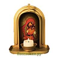 """Икона с подсвечником """"Чудо Киот"""" Божьей Матери (Милостивая Киккская)"""
