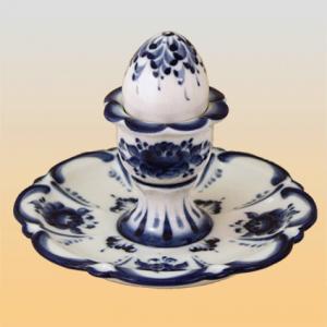 """Подставка для яиц с солонкой """"К завтраку"""" (гжель)"""