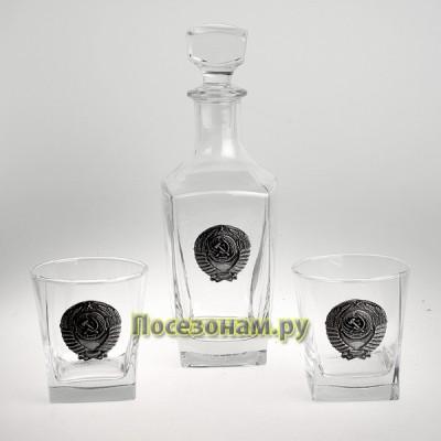"Набор для виски с графином (3 предмета) с накладками из олова ""СССР"""
