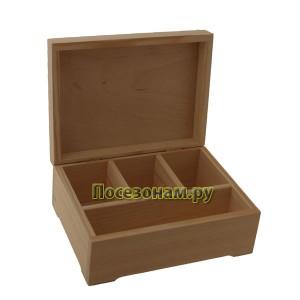 Деревянная чайная шкатулка (4 отделения) 041