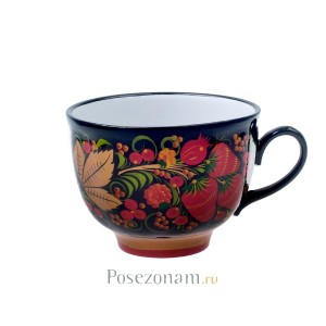 """""""Чашка чайная"""" из чайного сервиза """"Клубника"""" (хохлома)"""