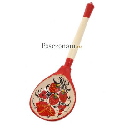 Ложка деревянная расписная полубаская художественная (хохлома)