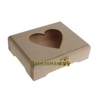 Шкатулка прямоугольная с замком и вырезом в виде сердечка