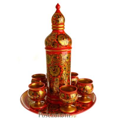 Набор для вина из 8 предметов без муз. элемента роспись царская кудрина (хохлома)