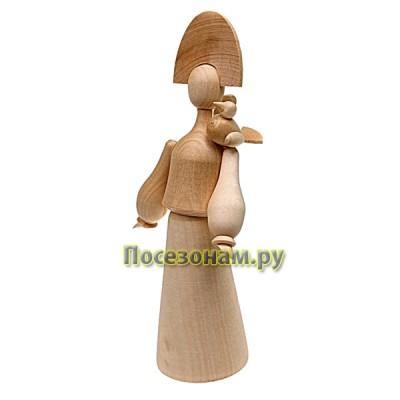 "Фигурка из дерева ""Девушка с птицей"""