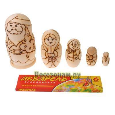 """Деревянная заготовка матрешки """"Распиши матрешку (Дед Мороз)"""" 5-ти кукольная"""