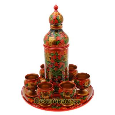 Набор для вина из 8 предметов без муз. элемента, роспись классическая (хохлома)