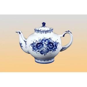 Чайник «Семейный» с цветами (гжель)