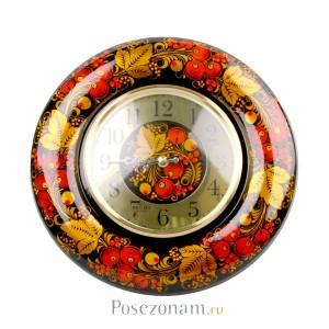 """Часы настенные """"Весна"""" вишня (хохлома)"""