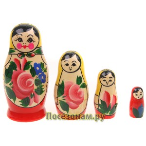 Матрешка 4-х кукольная (традиционная роспись) хохлома