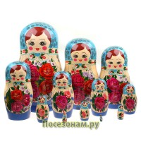 Матрешка 12-ти кукольная (нетрадиционная роспись) хохлома