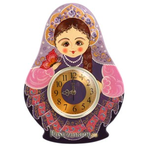 "Панно резное с часами ""Матрешка"" (хохлома)"