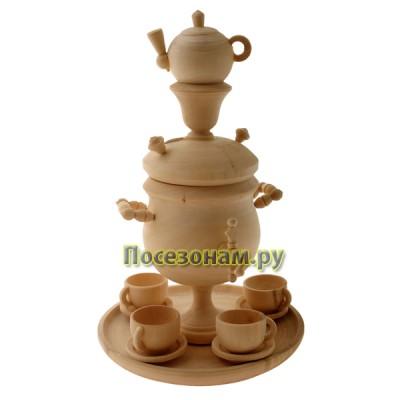 """Кухонный набор из дерева """"Самовар с чашками на подносе"""""""
