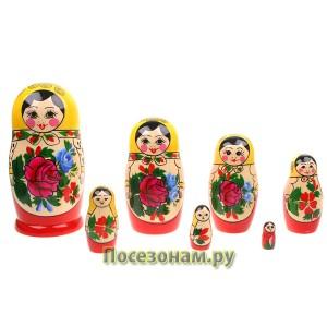 Матрешка 7-ми кукольная (традиционная роспись) хохлома