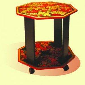 """Стол 8-ми гранный с деревянными стойками """"Ягодка"""""""