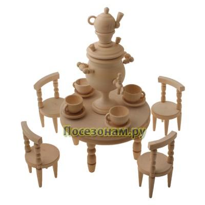 """Кухонный набор из дерева """"Самовар с чашками, стол, стулья"""""""