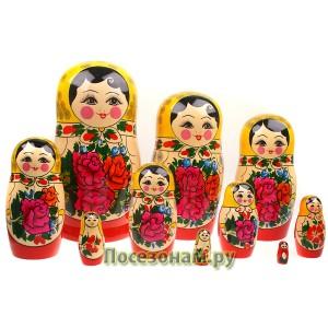 Матрешка 10-ти кукольная (традиционная роспись) хохлома