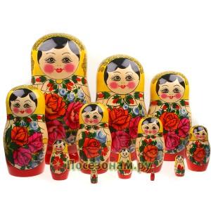 Матрешка 12-ти кукольная (традиционная роспись) хохлома