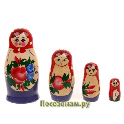 Матрешка 4-х кукольная (нетрадиционная роспись) хохлома