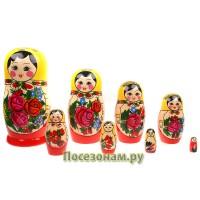 Матрешка 8-ми кукольная (традиционная роспись) хохлома