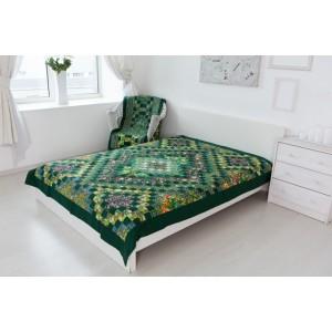 Одеяло лоскутное зеленое