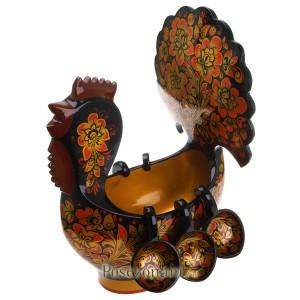 Ковш-павлин с навесными ковшами, 7 предметов (хохлома)