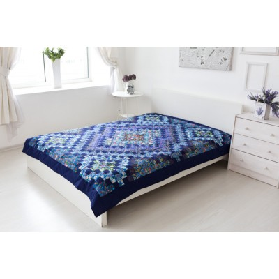 Одеяло лоскутное темно-синее