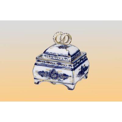 Шкатулка «Обручальное кольцо» (гжель)
