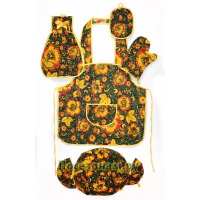 """Набор кухонный 5 предметов (фартук с карманом, прихватка простая, варежка, рушник, полотенце двойное) """"Хохлома"""""""