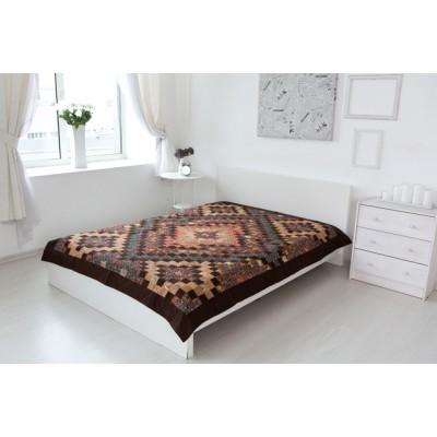 Одеяло лоскутное коричневое