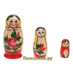 Матрешка 3-х кукольная (традиционная роспись) хохлома