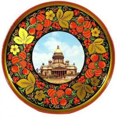 Тарелка-панно с видом Санкт-Петербурга (хохлома)