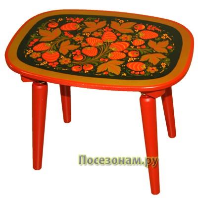 Скамейка с традиционной росписью хохлома
