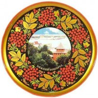 Тарелка-панно с видом Нижнего Новгорода (хохлома)