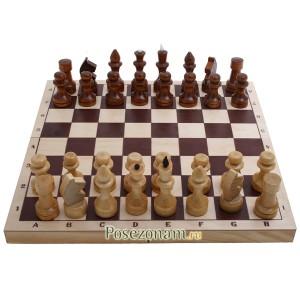 Шахматы обиходные парафинированные в комплекте с доской 290x145x38