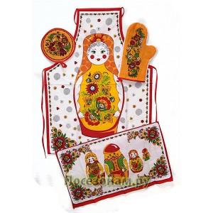 Набор кухонный из 4-х предметов (фартук, варежка, прихватка, полотенце)