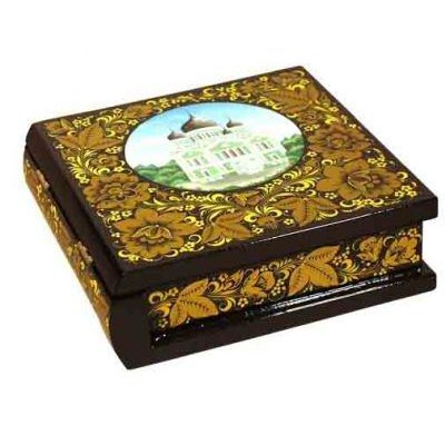 Коробка под CD с эмблемой (хохлома)